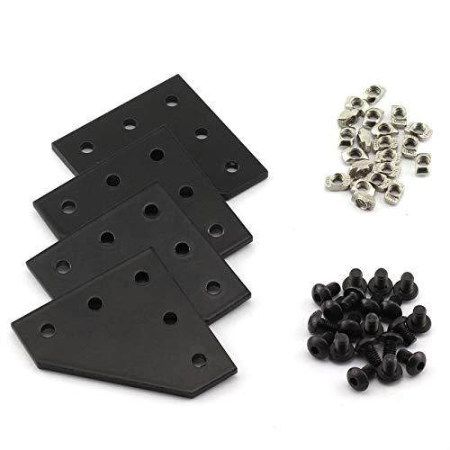 PZRT 2020 Series Black L Shape Joint Plate Bracket Kit,4pcs Joint Plate,20pcs M5 T-slot Nuts, 20pcs M5x8mm Hex Socket Cap Screw,for Standard 6mm Slot Aluminum Profile