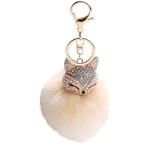 - Girls Artificial Fox Fur Pom Pom Ball Key Chains with Fox Head, Inlay Pearl Rhinestone Keychain for Girls Schoolbag Hand Shoulder Bag Pendant,Women Purse Phone Charm Pendant,1Pcs 8CM (Beige)