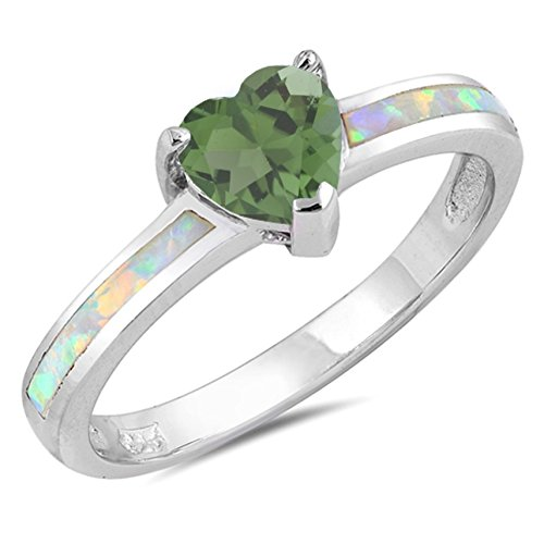 925 Sterling Silver Faceted Natural Genuine Green Emerald Heart Promise Ring Size 5