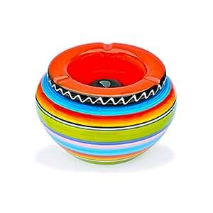Cenicero de cerámica–8unidades–Multicolor Rayas–con tapa roja–Nuevo