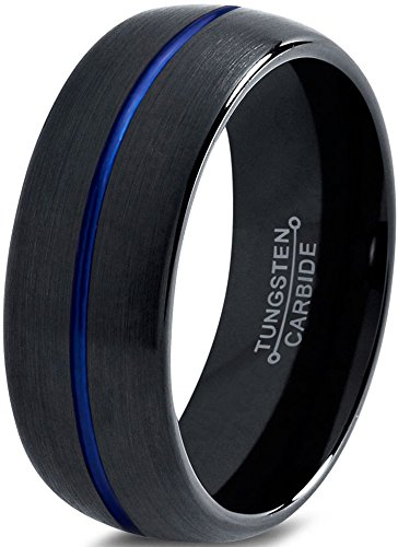 Tungsten Wedding Band Ring 8mm for Men Women Black Blue Center Line Dome Brushed Size 10.5