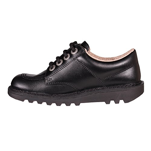 Kickers School Lo Girls Leather Junior Black Shoe Boot qxgzqr7