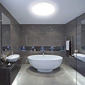 LED Bathroom Lights Ceiling,12W,22cm,6000K Cool White,Waterproof IP54,1050 Lumon,Fitting Indoor Lamp for Bathroom…