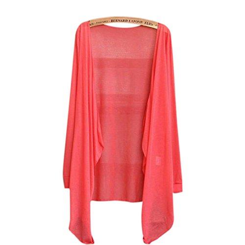 RaiFu カーディガン ショールニット ロングスリーブ サンプロテクション 薄い セーター 秋 女性 スイカの赤 ワンサイズ