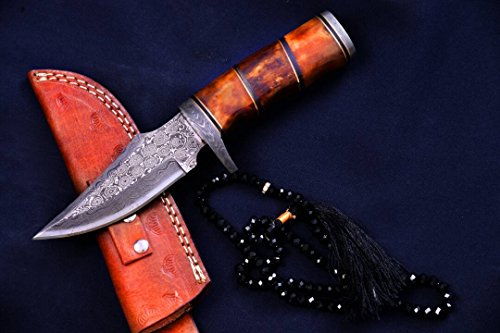 Nescole 9 inch Fixed Blade Bowie Knife- Handmade Damascus Knife- Decorative Knives, Camping Survival Knife, and Hunting Knife with Beautiful Camel Bon…