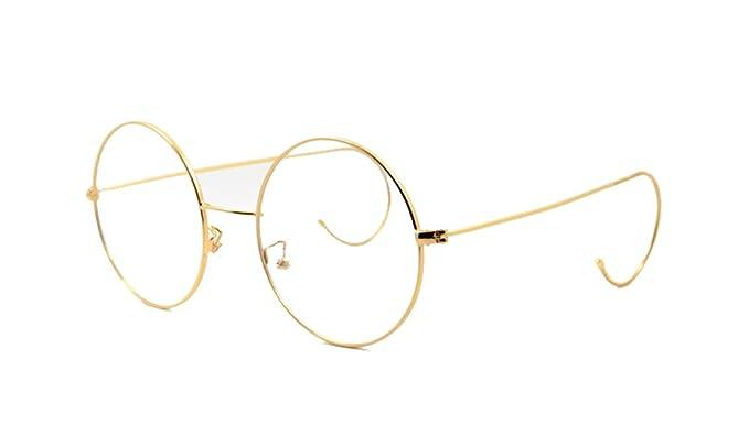 Amazon.com: Agstum Retro Round Optical Rare Wire Rim Glasses Frame ...