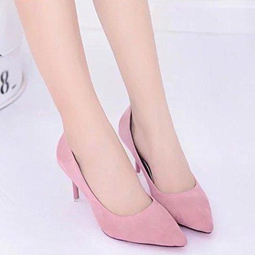 Upxiang Damen High Heels Schuh, Frauen Nude Flacher Mund Spitz Kopf High Heels Schuh (High-8cm) Mode Elegant Office Arbeit High Heels Schuhe Rosa