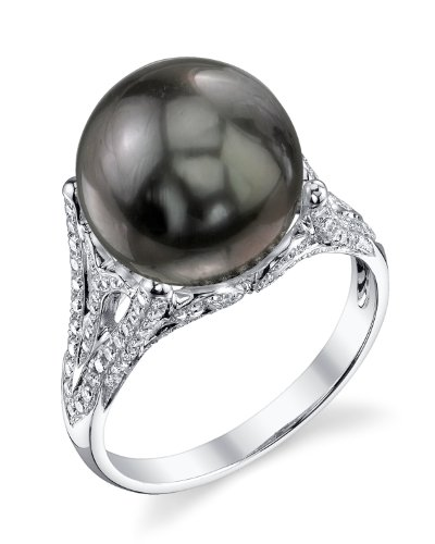 11mm Tahitian South Sea Cultured Pearl & Diamond Gabriella Ring in 18K Gold - AAA Quality (Tahitian 18k Gold Pearl Ring)