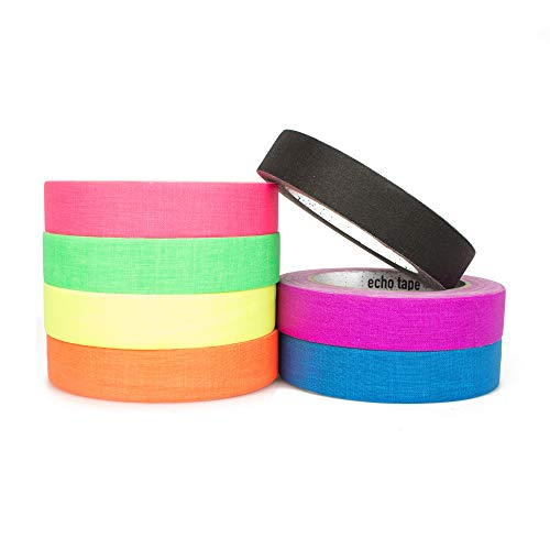 Echo Matt Fluorescent Gaffer Cloth Tape XL 82ft (25m) Roll - Ideal for Stage Work & Hula Hoop Taping, Several UV Colors Available! (UV Pink)