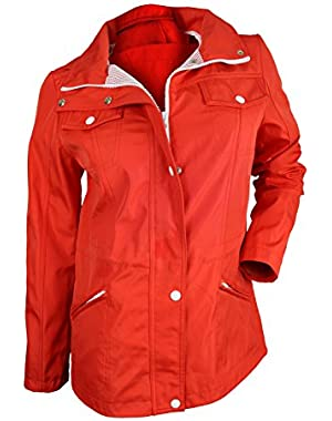 GUESS Women's Orange Hooded Windbreaker Jacket