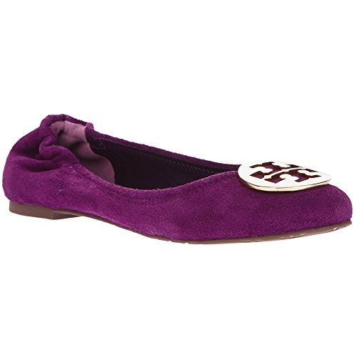 Tory Burch Reva Shoes Ballet Suede Sweet Plum Gold Logo (10) (Shoes Reva Burch Tory)