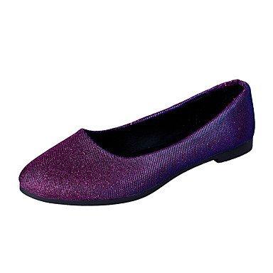 Cómodo y elegante soporte de zapatos de las mujeres pisos primavera otoño Casual sintética comodidad plana talón otros negro púrpura plata Walking plata