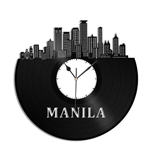 VinylShopUS - Manila Philippines Vinyl Wall Clock City Skyline Unique Gift Home and Office | Room Souvenir Anniversary Decoration