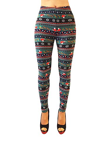 Just One Women's Extra Soft Fair Isle Winter Leggings (Green Sleigh Ride, M)