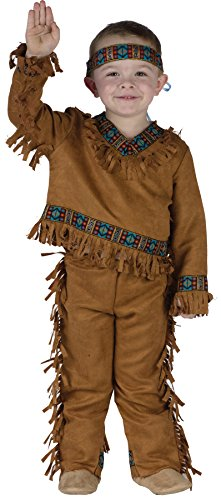 [UHC American Indian Boy Toddler Child Renaissance Theme Party Halloween Costume, 3T-4T] (Suede Renaissance Boot Costumes)