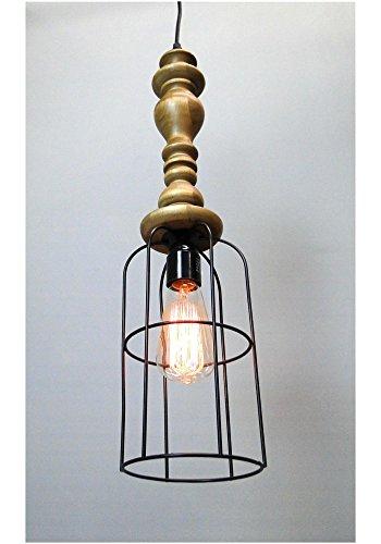 Wood Handle Industrial Hanging Pendant Light