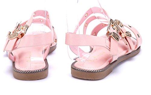 44a33e26fee456 Damen Schuhe Sandalen Sandaletten Rosa Flach Nieten Schuhtempel24 Auslass  Viele Arten Von Outlet Angebote Rabatt Billigsten