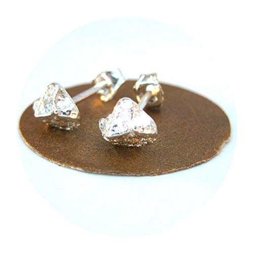 Twisted Nugget - Silver Chunk Rustic Stud Earrings Natural, Rough Nugget