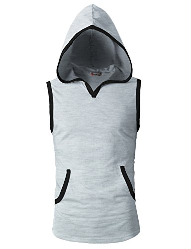 H2H Mens Hipster Hip Hop Sleeveless Tank Hooded T-Shirts with Pockets Heatherwhite US L/Asia XL (CMTTK015)