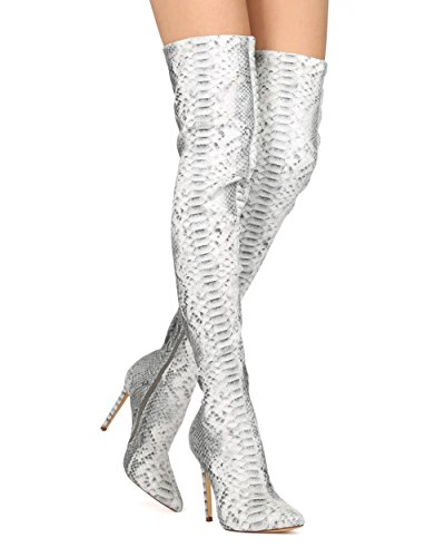 Women Thigh High Stiletto Boot - Sexy Over The Knee Boot - Pointy Toe Stiletto - Costume Cosplay Party Dressy Boot - HE09 By Liliana Collection - Snake (Size: 9.0)