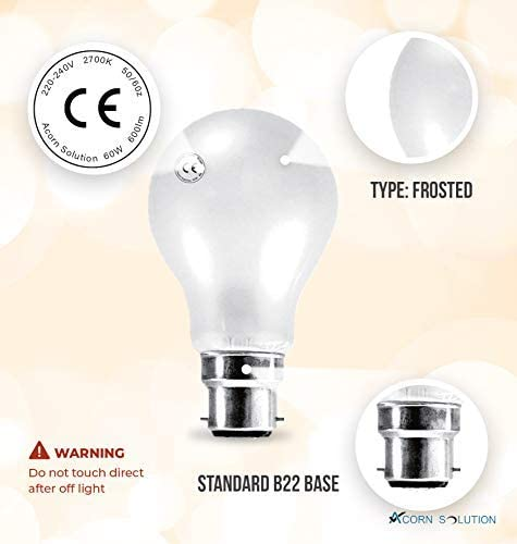 10 Pack 100W Incandescent Lamps Energy Class E B22 Frosted AcornSolution Bayonet Cap