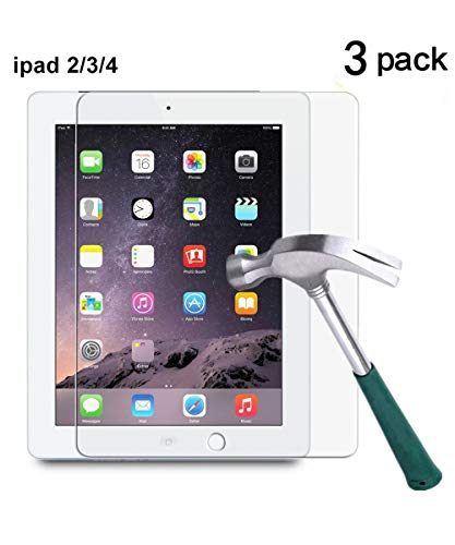 TANTEK l230 Hd Clear, Anti Scratch, Glare, Fingerprint, Tempered Glass Screen Protector for Apple iPad 2/3/4, 3 Piece