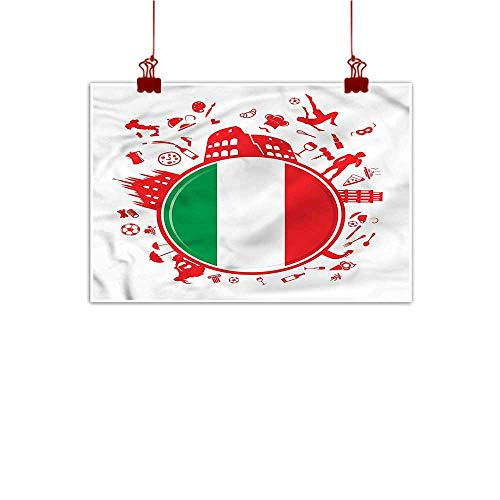 (Mangooly Outdoor Nature Inspiration Poster Wilderness Italian Flag,Soccer Player Pizza 36
