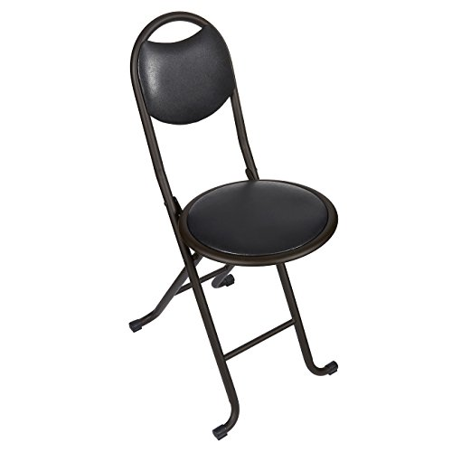 Folding Chair – Padded Foldable Chair – Stainless Steel Folding Stool Chair with Cushioned Seat, Black, 11.7 x 28.7 x 11.7 Inches