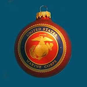 "2.5"" United States Marine Corps Logo Glass Ball Decorative Christmas Ornament"