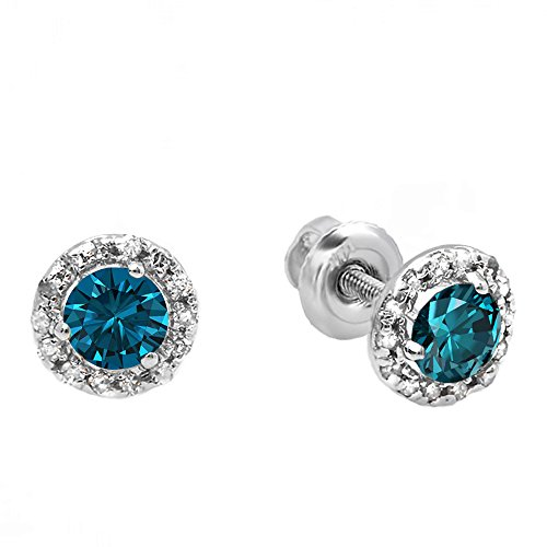 Blue Diamond Jewelry - Dazzlingrock Collection 0.35 Carat (ctw) 10K Round Blue & White Diamond Halo Stud Earrings, White Gold