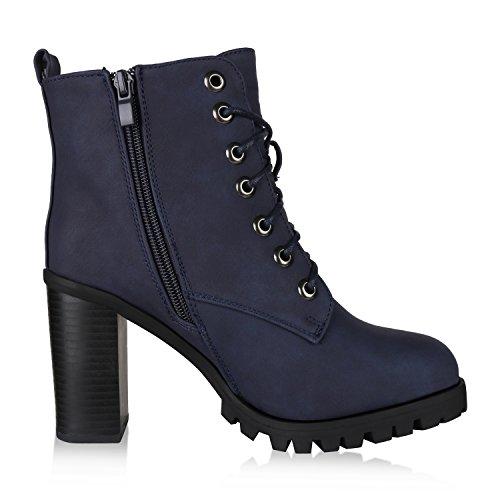 napoli-fashion Damen Schuhe Schnürstiefeletten Worker Boots Stiefeletten Block Absatz Jennika Dunkelblau Blau Navy