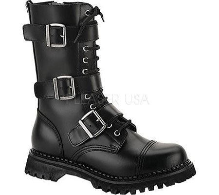 S Leather 3 12 Calf Blk 10 T Boot Eyelet Blk Strap CqxPzwt