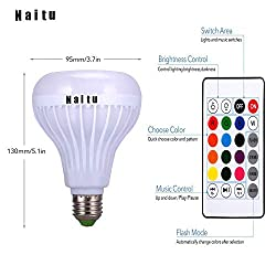 Naitu Smart Bluetooth Speaker Bulb E27 Base, RGB Changing Lamp Wireless Remote Controller, 4.0 Speaker and Color Changing Dimmable Function for Playing Music, Family Celebration, Party, Gym,