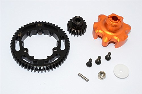 Traxxas X-Maxx 4X4 Upgrade Parts Aluminum Gear Adapter + Steel Spur Gear 54T + Motor Gear 18T (For X-Maxx 6S Only) - 1 Set Orange