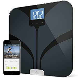 Bluetooth Smart Body Fat Scale by Weight Gurus, Secure Connected Solution for your Data, including BMI, Body Fat, Muscle Mass, Water Weight, and Bone Mass, Large Backlit Display