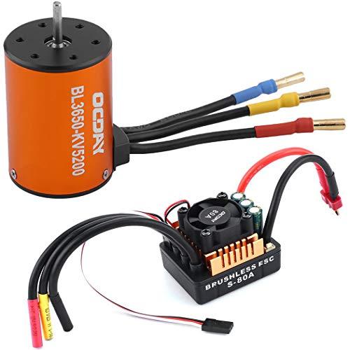 Bangcool 高トルク防水ブラシレスモーター BL3650 5200KV RC玩具モーター 80A ブラシレス ESC 電気スピードコントローラー 0.16インチ バナナコネクタ 6.1V/3A SBEC