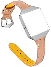 Compatible for Fitbit Blaze Bands with Protective Case Watch Bands with Frame Leather Watch Strap Replacement Compatible for Fitbit Blaze - Rose Gold
