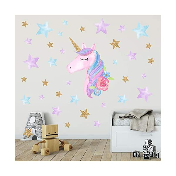 AIYANG Unicorn Wall Stickers Rainbow Colors Wall Decals Reflective Wall Stickers for Girls Bedroom Playroom Decoration (Stars,Left) 3