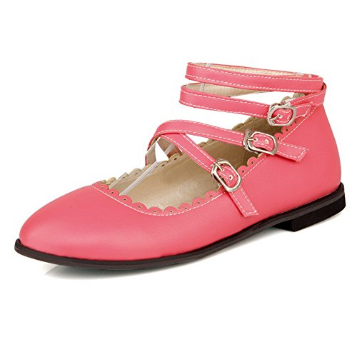BalaMasa Girls Buckle Mule Hollow Out Leopard Pattern Imitated Leather Pumps-Shoes Pink 2Nbbj9vFsl