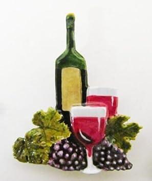 Pintado ~ botella de vino y vidrio ~ rojo ~ imán para frigorífico ~ AP225BM