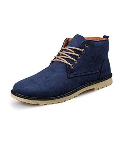 Heart&M casual alta corte mantenga cálido gamuza cuero/Martin zapatos botas de los hombres Blue