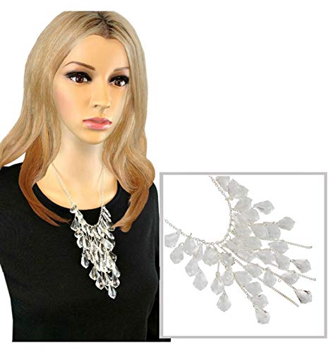 Clear Ice Look Faux Crystal Silver Tone Fringe Faceted Beads Statement For Women ()