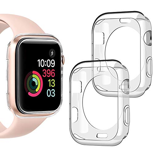 Goton Compatible iWatch Apple Watch Case 42mm Series 3 2 1, (2 Packs) Soft TPU Shockproof Case Cover Bumper Protector (Clear and Clear, 42mm) ()