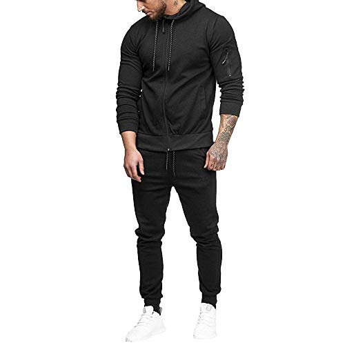 Trench Set - Sumen Men Zipper Patchwork Hoodie Pants Sets Tracksuit Jogging Sweatsuit Activewear Black