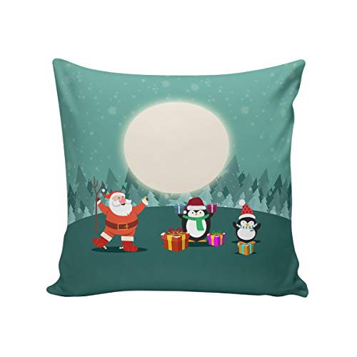 T&H Home Comfortable Throw Pillow Cover for Bedding, Decorative Accent Cushion Sham Case for Couch Sofa, Soft Solid Satin with Zipper Hidden - 24x24 in, Xmas Eve Moon Night Santa Claus and Penguin (Chicago Bears Santa Pillow)