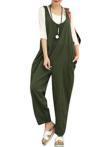 Romacci Women Cotton Linen Baggy Overalls Jumpsuits Vintage Sleeveless Wide Leg Pants Rompers Dark Green