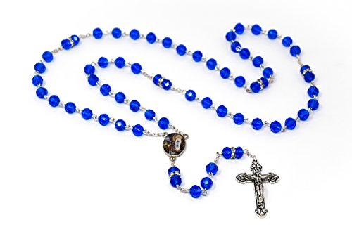 Rosary Beads From Lourdes - Blue Crystal with Swarovski Elements Rosary Beads.