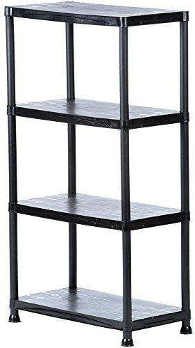 Swell Amazon Com Hdx 4 Shelf Black Plastic Storage Shelving Unit Interior Design Ideas Lukepblogthenellocom
