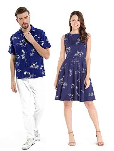 Hawaiian Cruise Dress - Couple Matching Hawaiian Luau Cruise Outfit Shirt Vintage Dress Classic Navy Men M Women M