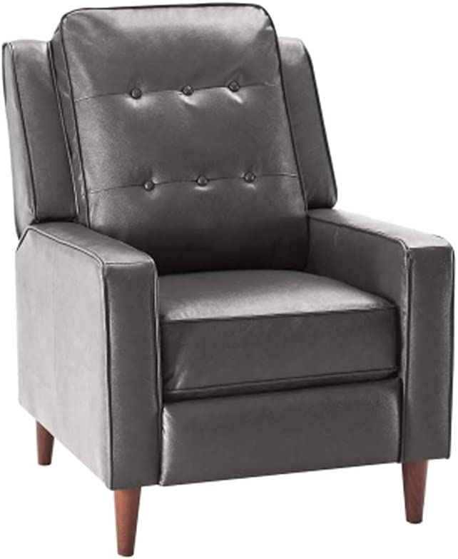 GGPUS Push Back Recliner Manual PU Armchair with Medieval Style Accent Chair for Living Room, Dark Brown